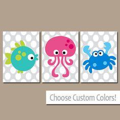 Ocean Sea Animals Bathroom Wall Art Canvas Nautical Artwork Boy Girl Fish Crab Octopus Polka Dot Set of 3 Prints Decor Children BATH Three