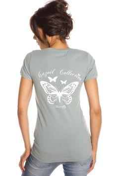 T-shirt femme T- BUTTERFLY VERT PASTEL Vert pastel