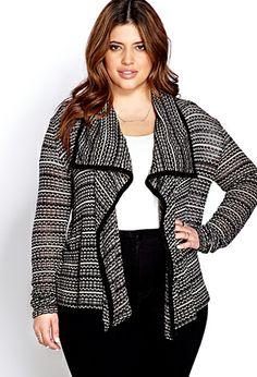 Cozy Textured Draped Cardigan | FOREVER21 PLUS - 2000063969