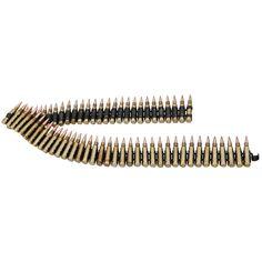 Cinturón de munición con 65 balas. Longitud: aprox. 98 cm. Longitud de las balas aprox. 7 cm. Canana para llevar como cinturón. El cinturón se puede acortar o alargar con mas balas, con un click se ponen o se quitan.   Balas adicionales disponibles en EMP.