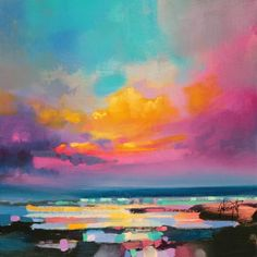 In his work, Scottish painter Scott Naismith explores the brilliance of those colored skies and the effects of light and color in the atmosphere.