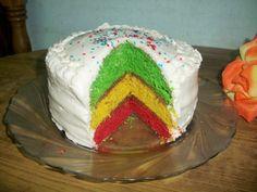 Tri-Colour Rainbow Cake for 300th Post