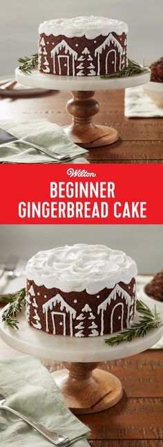 Winter White Beginner Gingerbread Cake - Make your favorite gingerbread cake recipe, then use simple buttercream piping techniques to decorate the side of your cake with cute snow-covered houses and trees. Use the tip of a spatula to add snowy swirls into the top of your cake, too! This cake would be lovely with a cup of hot cocoa after a hearty Christmas dinner. You could even add candles to this cake to celebrate a December or January birthday.