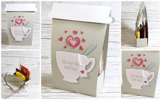 """Anleitung Verpackung für Tee in """"Tea to Go"""" - Optik, gemacht mit Produkten von Stampin' Up!   Vollkommene Momente Stempel Teestunde Stanzen  ++++ Tutorial Stampin' Up! Tea Box """"Tee / Coffee to Go""""   A Nice Cuppa  Cups & Kettle Framelits Dies"""