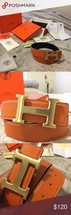 Brand New Orange/Black Reversible Hermes Belt Brand new Hermes 1:1 Replica Belt for sale!!! Beautiful, high quality material that's a 1:1 replica created to look and feel the part of the original counter part. When you wear this belt, it would be hard to tell from an untrained eye if it's a original or not. Comes with everything you see in the pictures above!  The size of the belt is 90 CM which should fit up to 32 waist. If need be, you can always get more holes added, which is what I did…