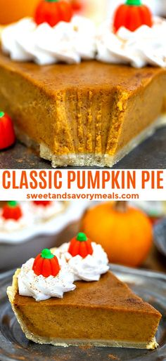 Homemade Pumpkin Pie recipe is easy and full of fall flavors that your guests will surely appreciate! Homemade Pumpkin Pie recipe is easy and full of fall flavors that your guests will surely appreciate! Classic Pumpkin Pie Recipe, Homemade Pumpkin Pie, Pumpkin Pie Recipes, Tart Recipes, Baking Recipes, Yummy Recipes, Party Desserts, Dessert Recipes, Sweet Desserts