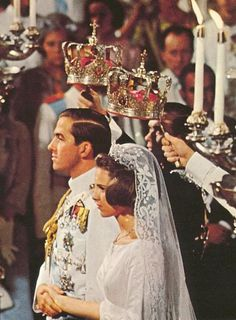 Constantine II of Greece and Queen Anne-Marie (a princess of Denmark) at their wedding in 1964.