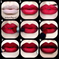 Looks like velvet.. Red & Black Double Ombre Pictorial 1⃣ I first applied lip balm 10 mins pr...