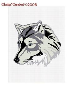 INSTANT DOWNLOAD Lone Timber Wolf Afghan Crochet Pattern Graph Chart .PDF 4.00