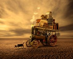 My Books and My Dog © Enzzo BARRENA (PhotoArtist. Lima, Peru) aka ENZZOK via deviantart.   Digital Art / Photomanipulation. Steampunk.  ... Promote the Arts. Give credit where due. Pin from the Primary Source. Keep artists' names with their art.