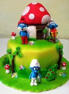 Smurfs cakes featuring Brainy Smurf by Giada on Cakes Decor left and Bake-A-Boo right 4th Birthday Parties, Birthday Party Decorations, Birthday Cake, Cupcakes, Cupcake Cakes, Beautiful Cakes, Amazing Cakes, Bake A Boo, Crazy Cakes