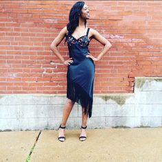 "VTG Fringe & Floral Slip Dress Flirty,Black floral bust slip dress with an asymmetrical fringe hem. The perfect dress for dancing on a hot summer night Adjustable straps with built in bra. Excellent vintage condition. Bust 32 B cup/ waist 28"" Hip 36 Total length 41"". Vintage Dresses"