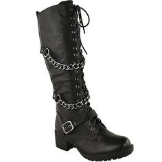 dade9b6ce4e2 Ladies womens knee high mid calf lace up biker punk military combat boots  shoes