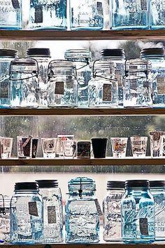 Shelves of mason jars - so many mason jars!