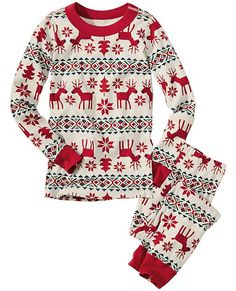 "Long John Pajamas In Organic Cotton from #HannaAndersson. ""Dear deer"" is the print. I actually saw these Christmas day being worn by the Kardashian family (kids and adults), and it was adorable! Sadly the item is no longer available :-("