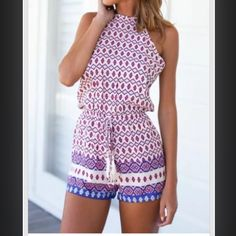 Purple patterned romper I can't get enough of these rompers!!! This purple pattern is great for the summertime. Pants Jumpsuits & Rompers
