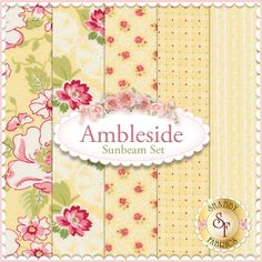 "Ambleside 5 FQ Set - Sunbeam by Brenda Riddle for Moda Fabrics: Ambleside is a collection by Brenda Riddle for Moda Fabrics. 100% Cotton. This set contains 5 fat quarters, each measuring approximately 18""x21"""