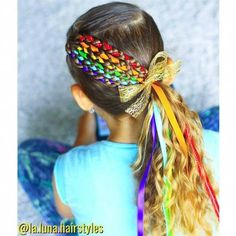 Ribbon braids in naturally wavy - curly kids hair style #curlyhairstyles #CurlyHairstylesTrends