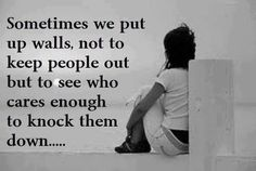 Sometimes we put up walls to see who cares enough to knock them down