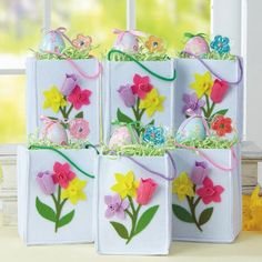 White polyester felt bags display bright spring flowers to create cheery packaging for gifts or wrapped treats. Current Catalog, Bag Display, Bright Spring, Discount Curtains, Warm Coat, Favor Boxes, Treat Bags, Spring Flowers, Favors
