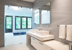 Architecture by Brooks & Falotico Contemporary Bathrooms, Residential Architecture, Master Bathroom, Mid-century Modern, Building A House, Mid Century, Mirror, Colonial, House Ideas