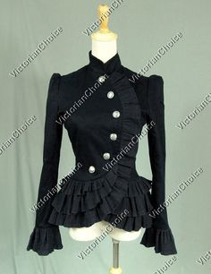 High Quality Victorian Edwardian Riding Jacket Women Cross Over Button Up Blazer Black Steampunk Clothing