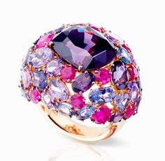 Pomellato has us dazzled with the brand new one-of-a-kind Pom Pom collection! A favorite is this cocktail ring in 18k rose gold with a cushion faceted purple spinel, mixed cut purple spinels and mixed cut rubies. More here: http://balharbourshops.com/fashion/fashion-news/3018-pomellato-heats-up
