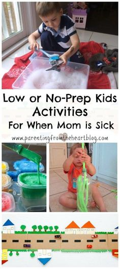 When Mom is sick or needs a break, low or no-prep kids activities are key! Here are more than 15 play-based learning kids activities that take little or no-prep. They'll buy you some quiet time and have them engaged without defaulting to screen time. STEM learning, fine motor skill practice, kids crafts, arts and crafts, toddlers, preschoolers, kindergarteners