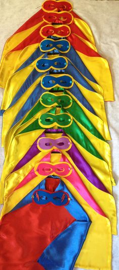 Handmade by Karen!! CAPES with masks Boys Girls Super Hero Capes for Birthday Party Gifts. via Etsy.