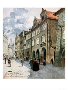 size: Giclee Print: Ulice K Mostu, Mala Strana Art Print by Vaclav Jansa by Vaclav Jansa : Artists Prague, Socialist Realism, Street Art, Street View, Old Paintings, Traditional Paintings, Central Europe, Urban Landscape, More Pictures