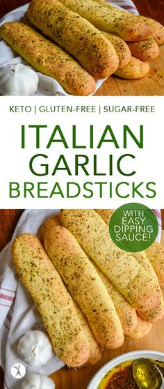 These easy keto Italian Garlic Breadsticks are the perfect side! Serve them with a bowl of easy dipping sauce for added fun! These easy keto Italian Garlic Breadsticks are the perfect side! Serve them with a bowl of easy dipping sauce for added fun! Low Carb Keto, Low Carb Recipes, Real Food Recipes, Healthy Recipes, Healthy Tips, No Bread Diet, Keto Bread, Garlic Breadsticks, Italian Breadsticks