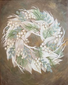 Christmas Wreath 2. Original acrylic painting on canvas by JKCARTER. SOLD.