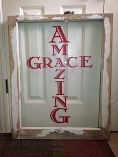 Reverse/ mirror image stencil with cricut and cut out of vinyl. put letters on back of window. Then glue printed fabric over letters. Old Window Crafts, Old Window Projects, Vinyl Projects, Craft Projects, Project Ideas, Frame Crafts, Wood Crafts, Diy And Crafts, Window Art