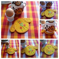 Crocheting: Crochet Double Faced Chick Coaster