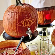 How about some pumpkin ale? The insides of the pumpkin will actually infuse flavor into beer or cider!