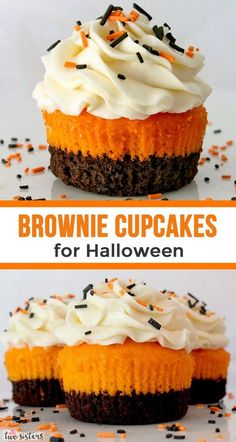 Brownies plus cake plus frosting combine in these unique and delicious Brownie Cupcakes for Halloween. What an easy Halloween Dessert! Your family, friends and party guests will be impressed when you Halloween Desserts, Halloween Torte, Postres Halloween, Hallowen Food, Holiday Desserts, Holiday Baking, Holiday Recipes, Halloween Ideas, Halloween Dinner