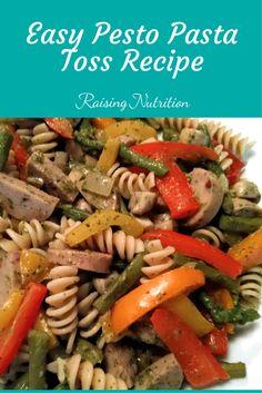 A super easy pesto pasta meal loaded with veggies! via @raisingnutritn