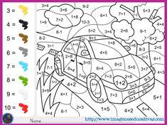 101 fichas para colorear con operaciones matemáticas – Imagenes Educativas Math Coloring Worksheets, 1st Grade Math Worksheets, Subtraction Worksheets, Addition Worksheets, Number Worksheets, 2nd Grade Math, Grade 1, Printable Coloring, Sixth Grade