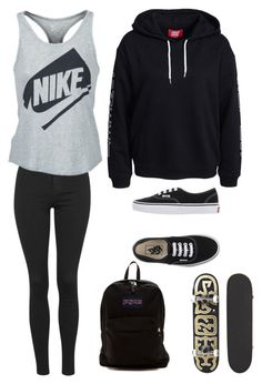 """""""Untitled"""" by futurecelebrity on Polyvore featuring Topshop, NIKE, JanSport and Vans"""