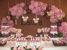 Decoração Chá de Bebê marrom e rosa