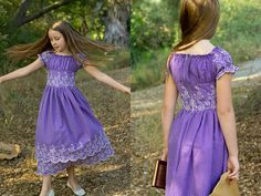 Peasant dress with midriff. What a pretty variant on the basic peasant dress! Simple to do, too, and gorgeous with border-print fabrics like the one in the tutorial.
