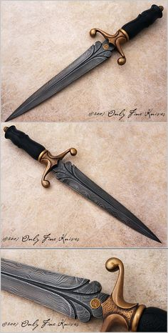 Peter Mason, Dagger with Damascus Blade, Bronze Guard, and African Blackwood Scales, Only Fine Knives