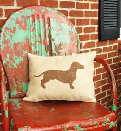 2012 Columbus Summer Avant-Garde Art & Craft Show Vendor- Courtnee's Creations Natural Burlap Pillow with Handpainted Handstenciled Dachshund Silhouette--Customize color-black, brown, white-insert included-12x16. $26.99, via Etsy.