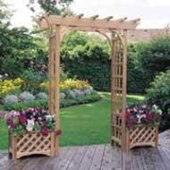 Do one of these for every terraced section to divide front garden from back garden,  Make arbor wider and planters longer.
