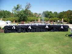 Head Table with Pool in Background spouting a Custom Water Feature