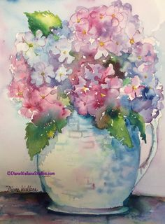 Pitcher of Hydrangeas, watercolor