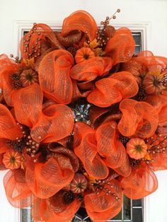 Fall Wreath- red and orange tulle or ribbon by the yard?  Maybe without the little pumpkins