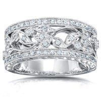 Diamond Anniversary Bands, Anniversary Rings, Wide Diamond Wedding Bands, Filigree Engagement Ring, Engagement Rings, Band Rings Women, Vintage Diamond, Vintage Floral, Rings Cool