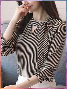 Sashes Stripe O-Neck Lantern Sleeves Women's Blouses blusas Neck Designs For Suits, Sleeves Designs For Dresses, Neckline Designs, Dress Neck Designs, Kurti Sleeves Design, Kurta Neck Design, Kurta Designs, Blouse Designs, Bluse Outfit