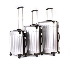 Silver Aero Travel 1100 Series London Collection Set of 3 Suitcases - 4 wheels